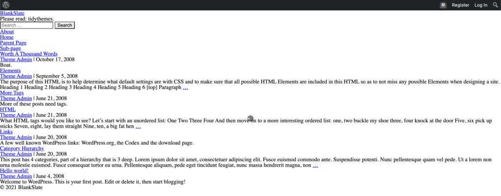 BlankSlate blank WordPress theme
