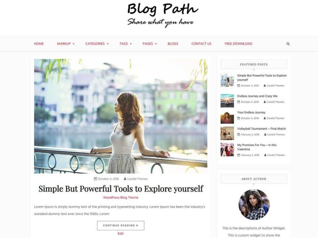 Blog Path WordPress personal website theme