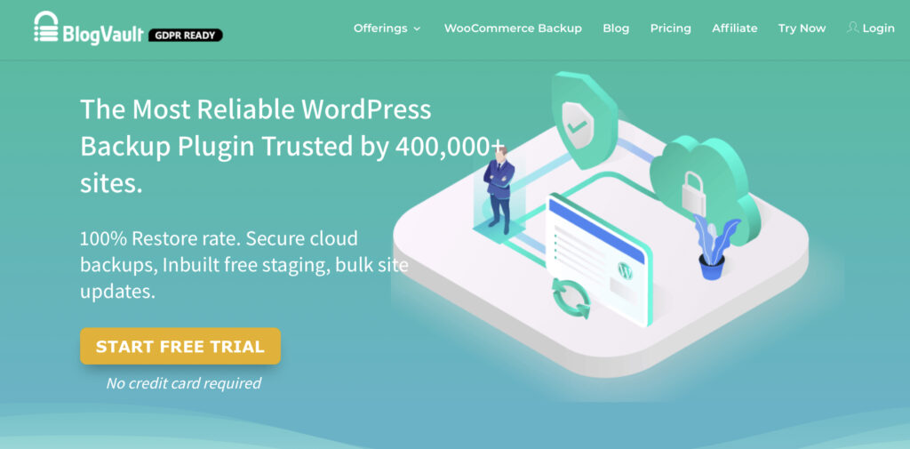 WordPress staging using BlogVault