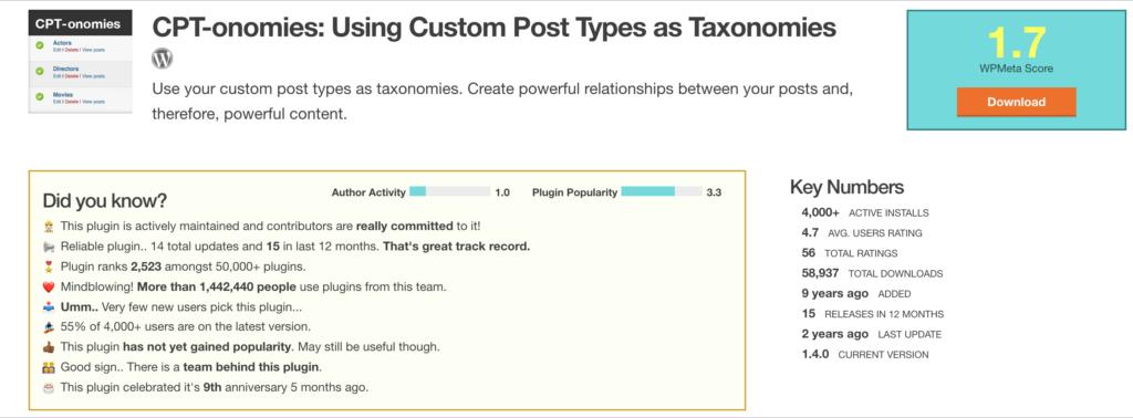 CPT-onomies WordPress custom post type plugin