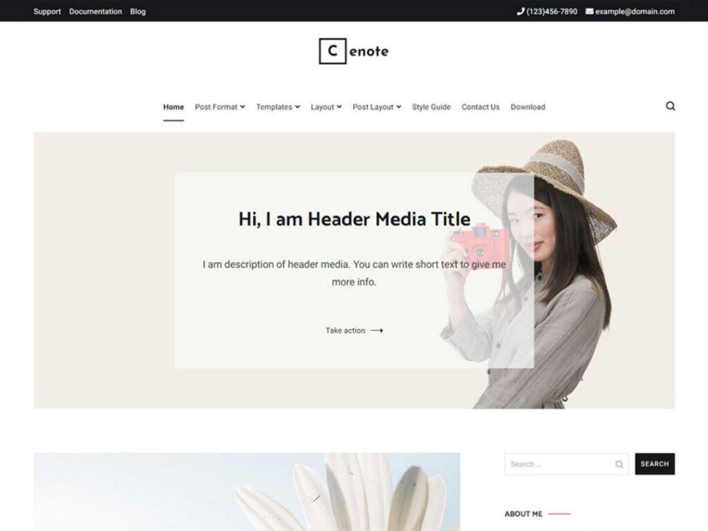 Cenote WordPress personal website theme