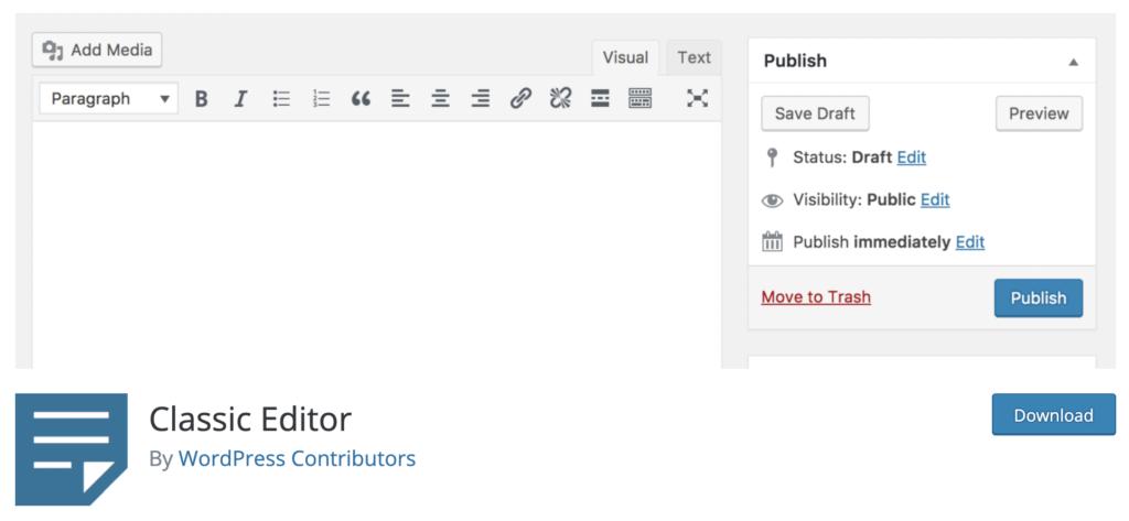Classic Editor Plugin - disable Gutenberg by plugin