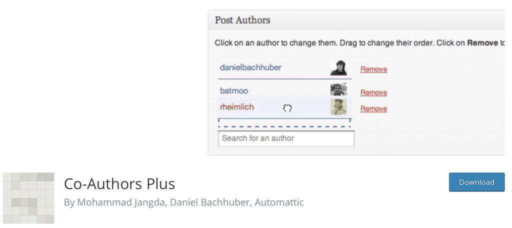 Co-author Plus multi-author blog plugin