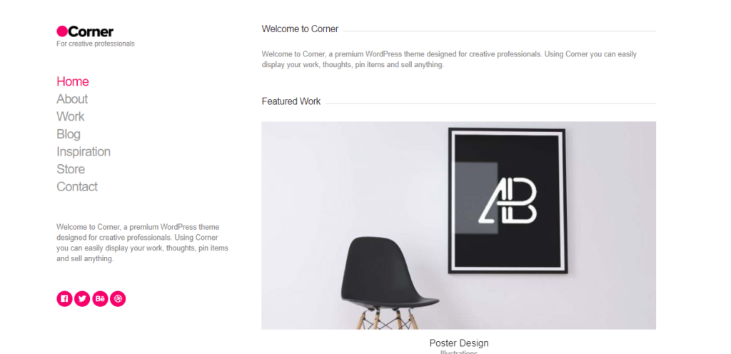 Corner WordPress portfolio themes