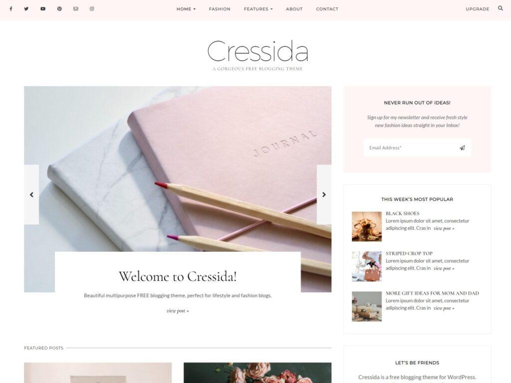 Cressida WordPress personal website theme