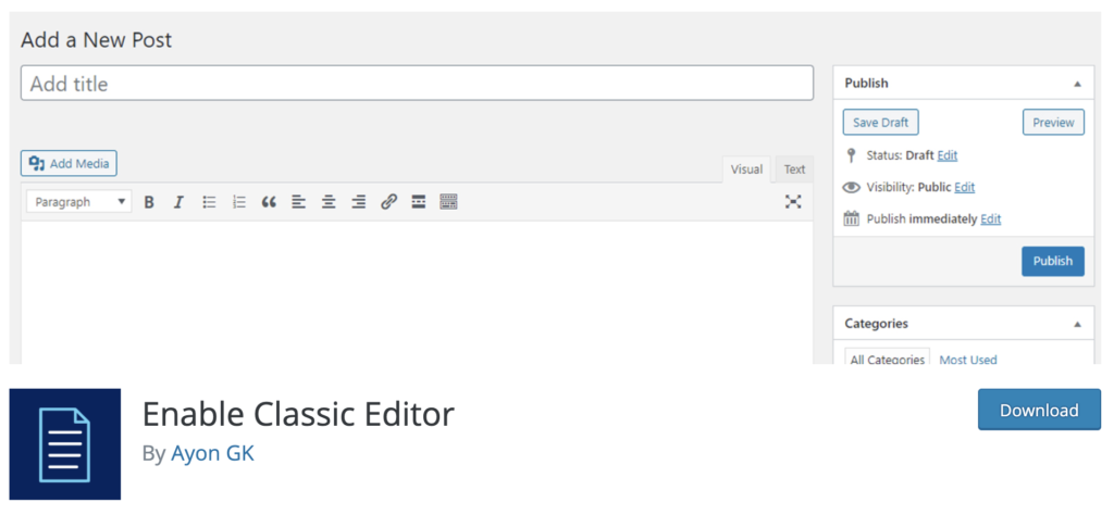 Enable Classic Editor