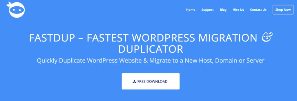 FastDup WordPress clone plugin
