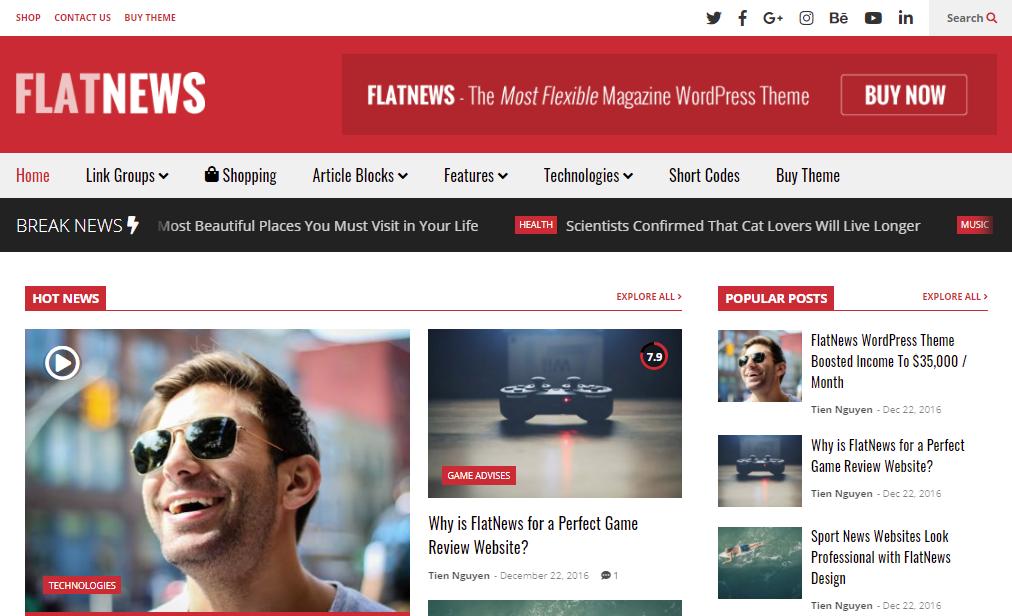 FlatNews best WordPress news themes