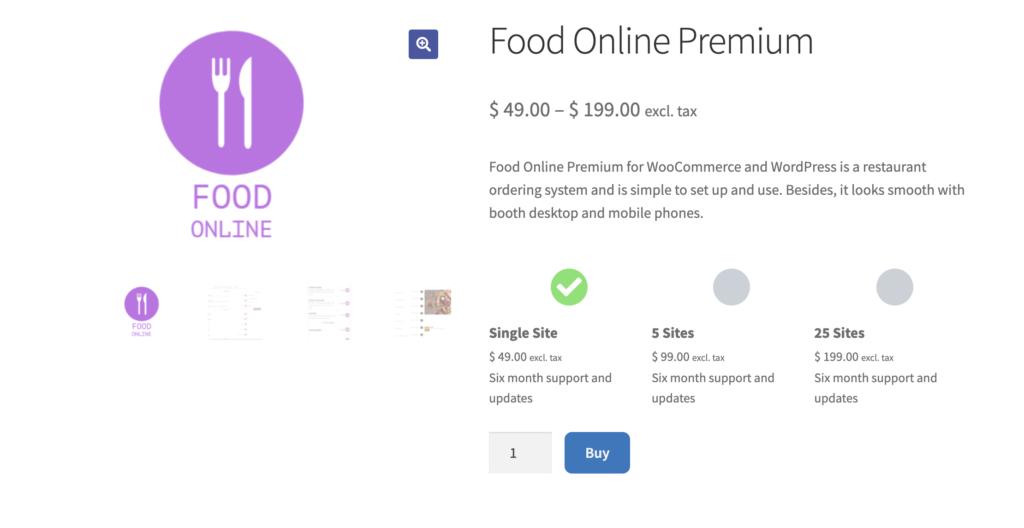Food Online for WooCommerce WordPress restaurant menu plugin