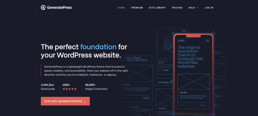 GeneratePress  blank WordPress theme