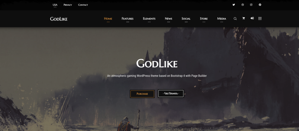 Godlike wordpress gaming theme