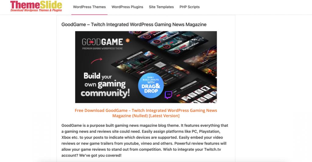 GoodGame WordPress review themes