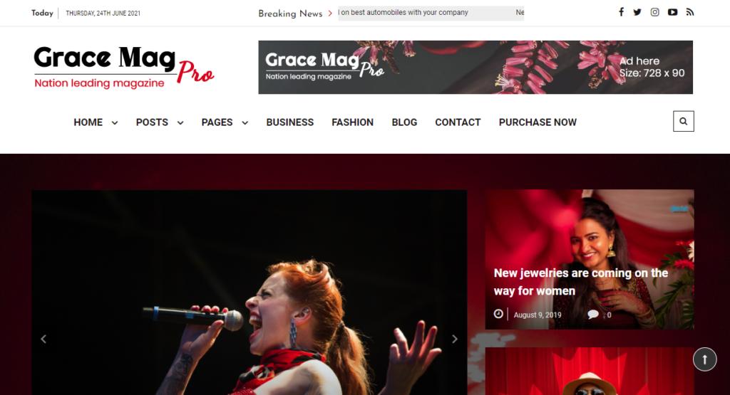 best WordPress news themes - Grace Mag