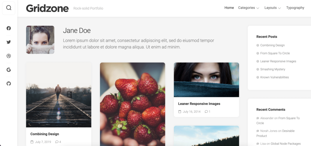 Gridzone best free WordPress themes for artists
