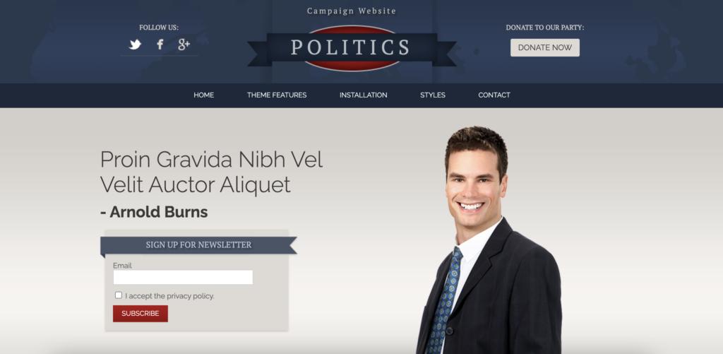 Hot Politics political WordPress theme