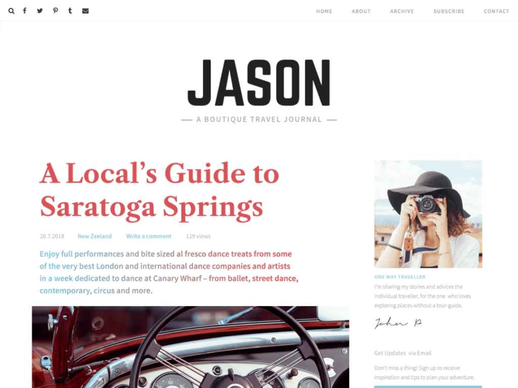 Jasoin Lite WordPress personal website theme