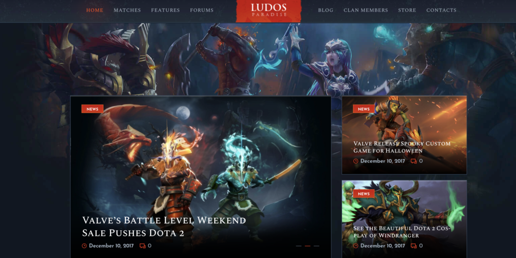 Ludos Paradise WordPress gaming theme