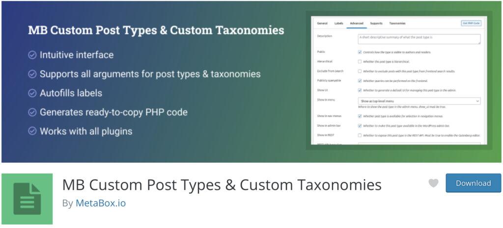 MB Custom Post Type WordPress custom post type plugin