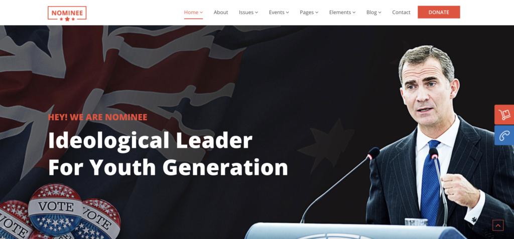 Nominee political WordPress themes