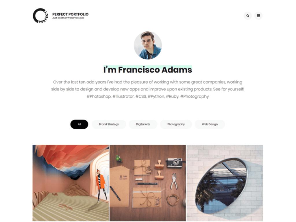 Perfect Portfolio WordPress personal website theme