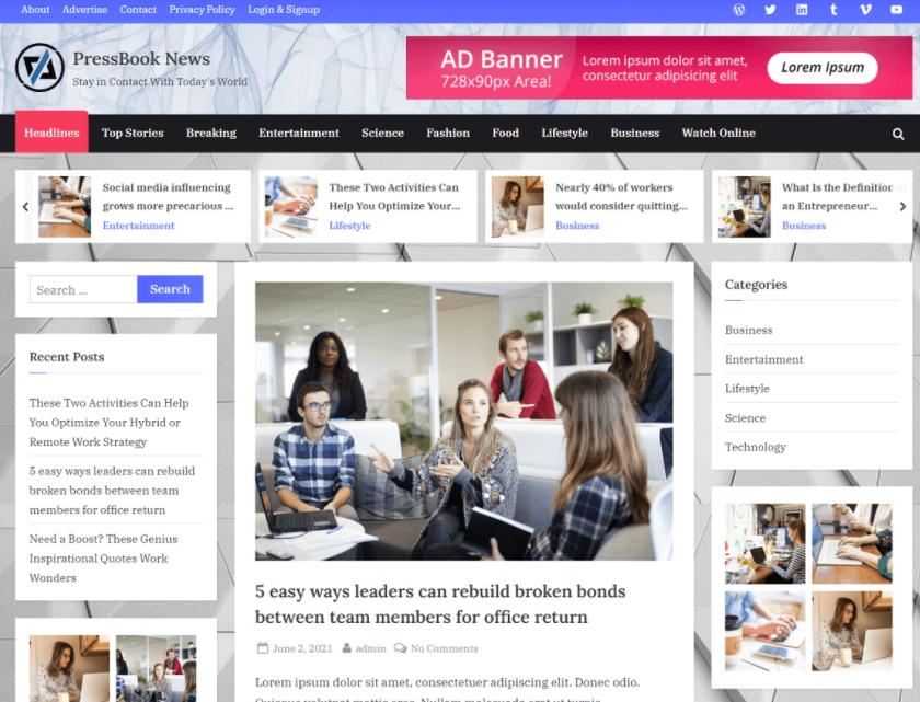 PressBook News best WordPress news themes