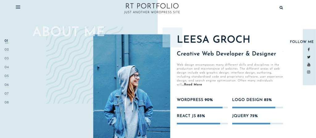 best free WordPress themes for artists RT-Portfolio