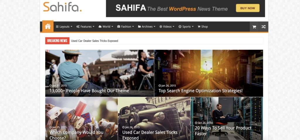 Sahifa WordPress review themes