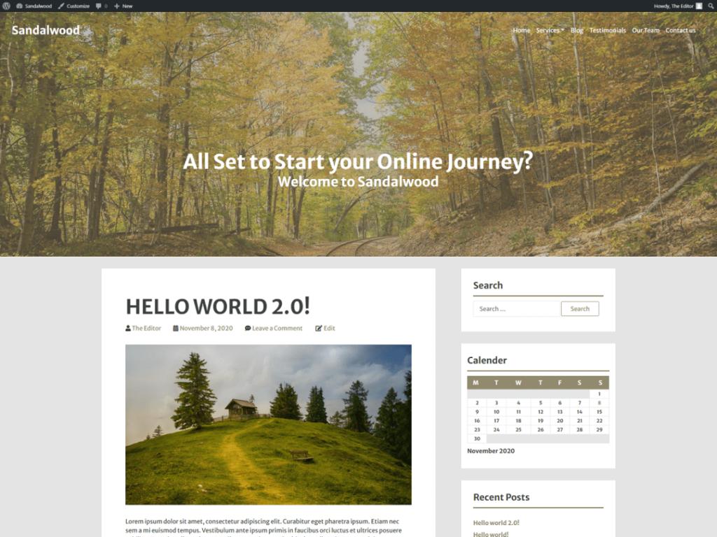 Sandalwood WordPress personal website theme
