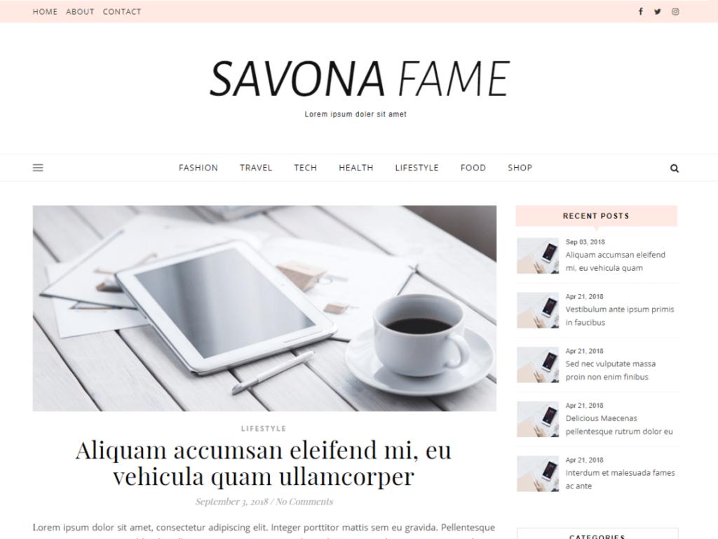 Savana Classic WordPress personal website theme