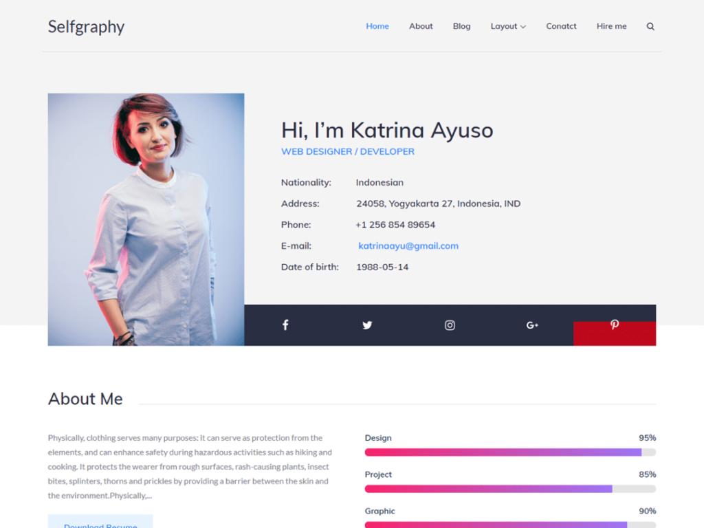 Selfgraphy WordPress personal website theme