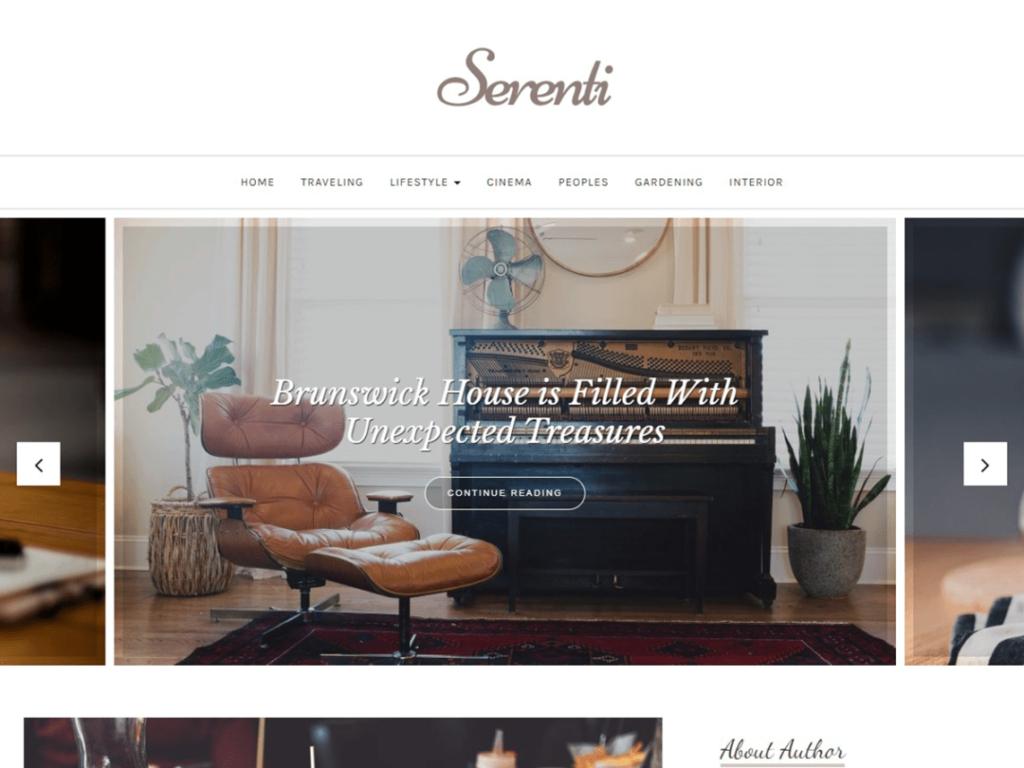 Serenti WordPress personal website theme