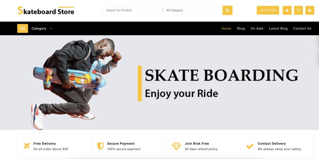 Skateboard Store wordpress sport themes