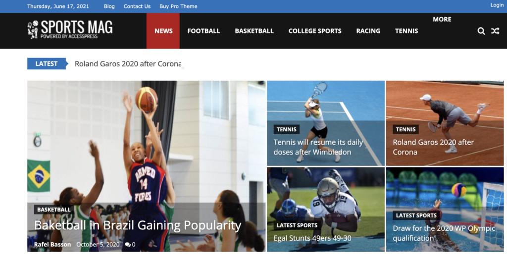 SportsMag wordpress sport themes