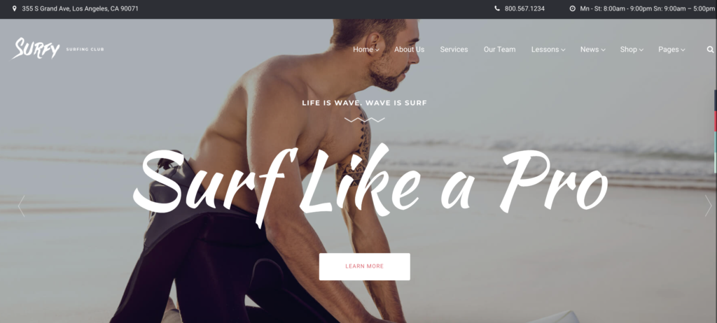 Surfy wordpress sport themes