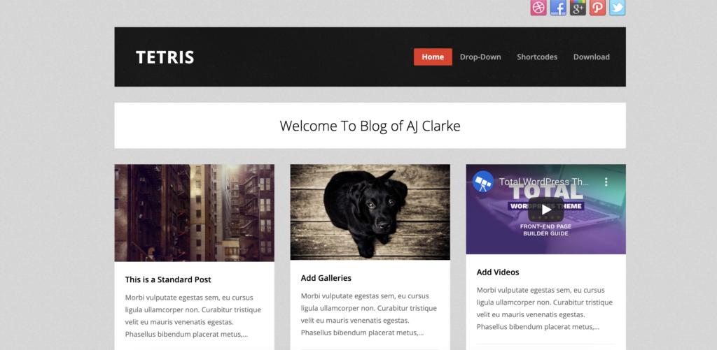 Tetris best free WordPress themes for artists