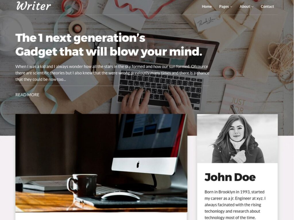 Writer Blog WordPress personal website theme