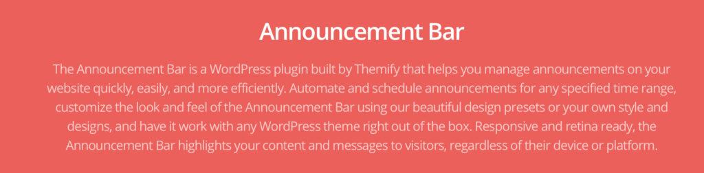 wordpress announcement plugin  - Announcement Bar