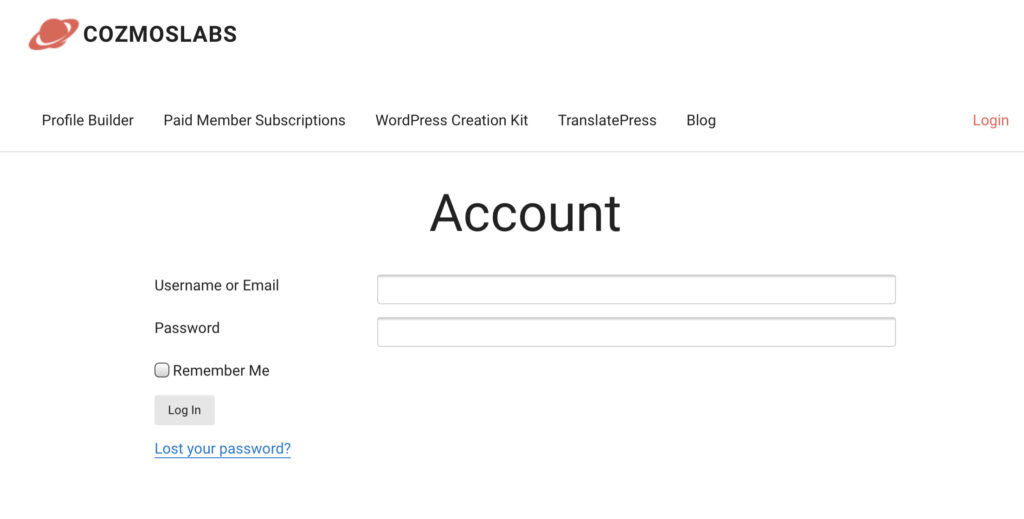 profile builder wordpress - Login to Cozmoslabs