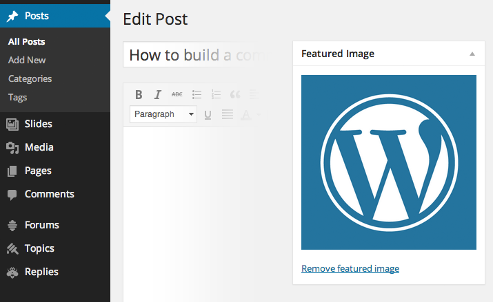 Edit Post - BuddPress social marketplace