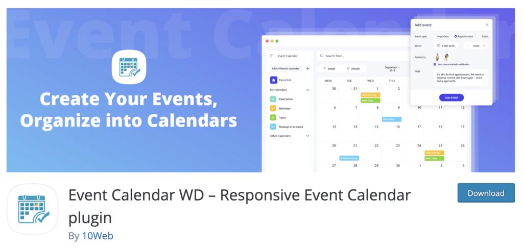 Event Calendar wordpress countdown timer