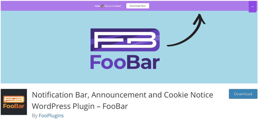 FooBar wordpress announcement plugin