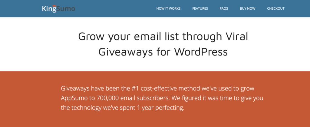 Kingsumo Giveaways wordpress gamification plugin