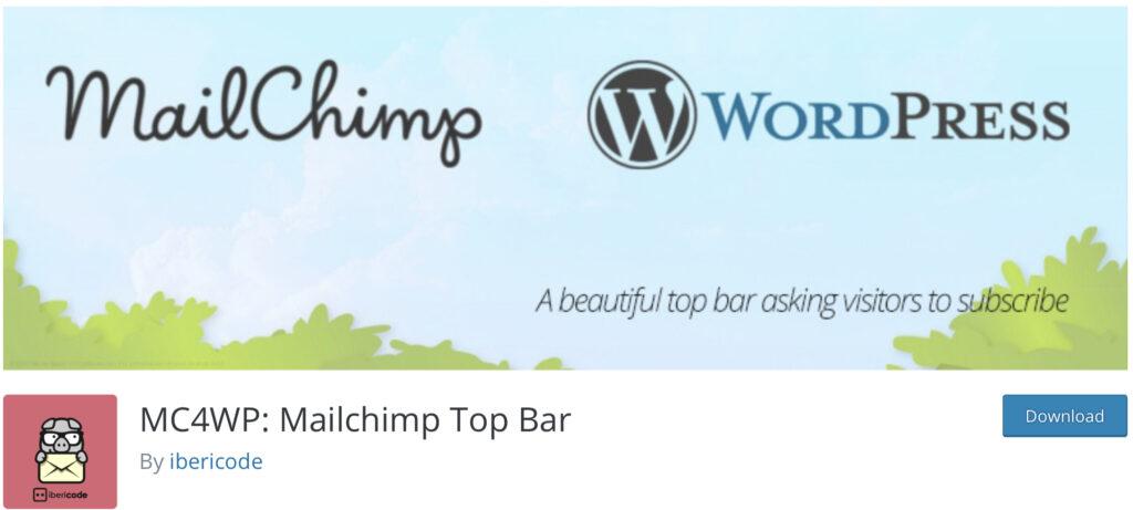 Mailchimp Top Bar wordpress announcement plugin