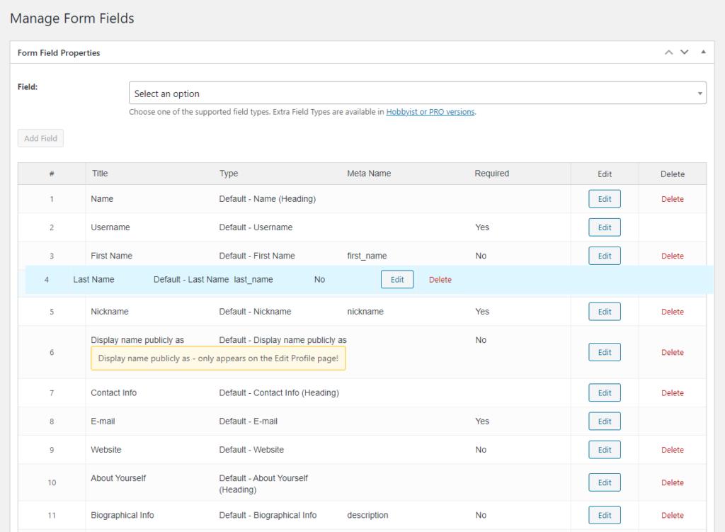 profile builder wordpress - recognize the fields