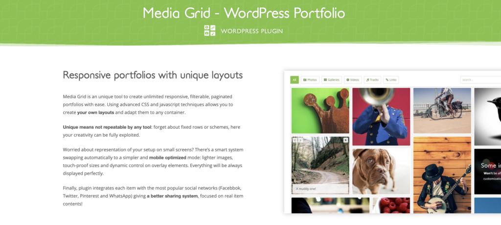Media Grid wordpress portfolio plugin