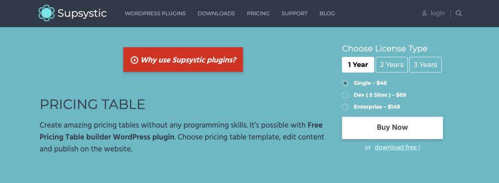 Pricing Table WordPress table plugin