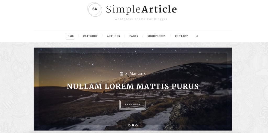 Simple Article WordPress tumblr theme