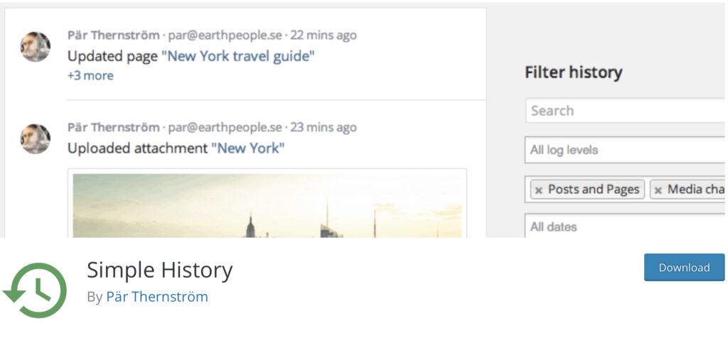 Simple History WordPress activity log