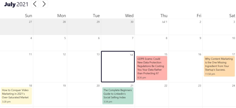 Strive Content Calendar - Features
