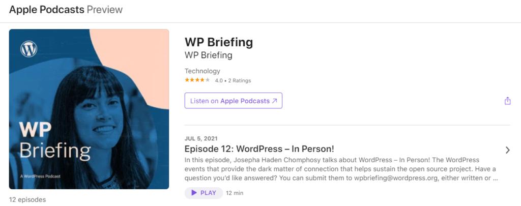 WP Briefing WordPress podcast